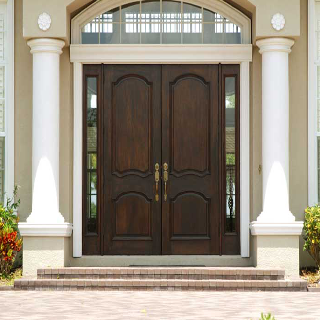 Anti Deformation Exterior Wood Doors With Glass , Simple Main Door Designs For Home