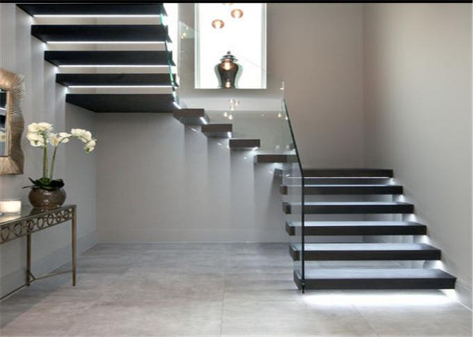 Indoor Floating Steps Staircase Led Stairs With Wood Tread , Customize Size