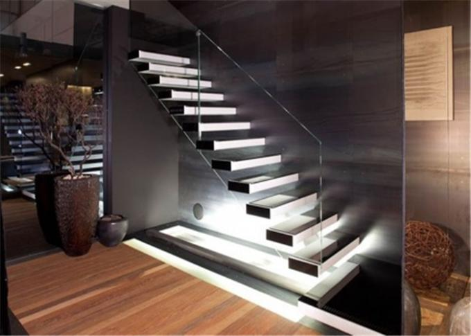 Contemporary Metal Floating Stairs , Wooden Staircase Designs For Homes