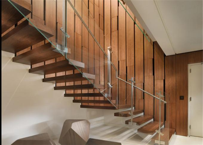 Contemporary Wooden Floating Steps Staircase With Invisible Stringer , Laminated Glass Tread