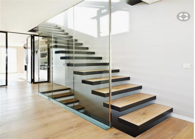 Minimalist Modern Wooden Staircase Designs , Floating Stairs With Glass Railing
