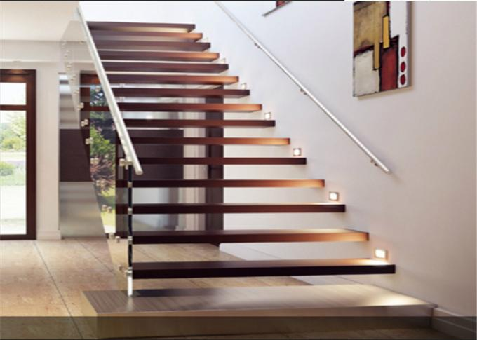 Diy Design Modern Floating Stairs , Fancy Steel And Wood Staircase Design