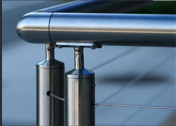 Outdoor Top Mount Building Railing 6mm Stainless Steel Wire Handrail Systems
