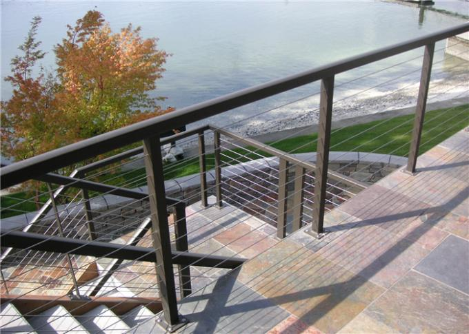 4mm Ss Wire Building Railing , Stainless Steel Cable Balustrade Polished Surface Finish