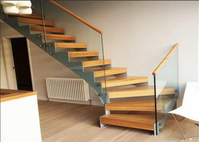 Solid Wood Steps Straight Flight Staircase Humanized Design Free Sample , Diy Fitting