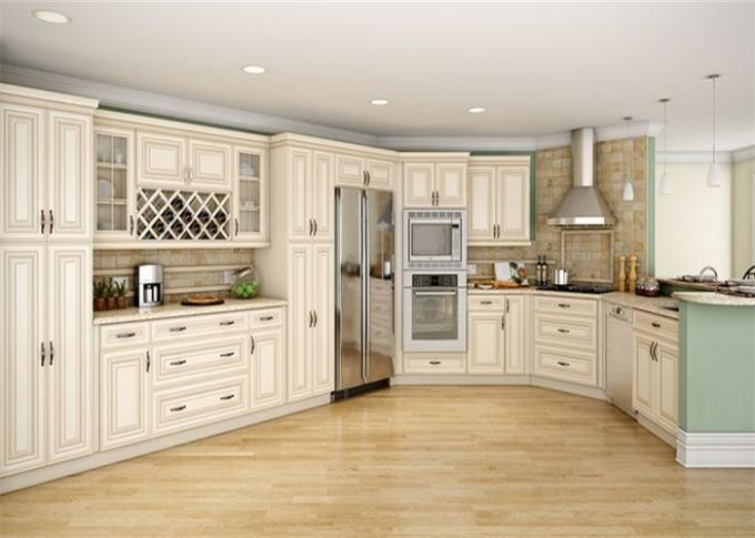 Ancient Solid Wood Kitchen Cabinets Hanging Kitchen Wall Cabinets With Quartz Stone Countertop