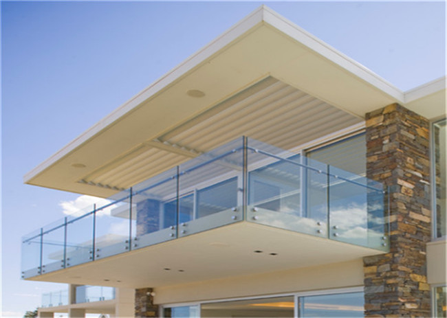 Facial Mounted Frameless Glass Balcony Systems , Stainless Steel Balustrade With Glass Panels