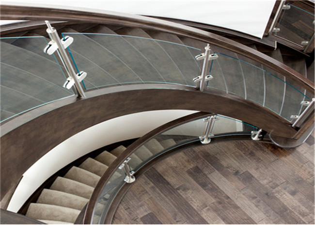 Prefab Apartment Building Curved Stairs Clear Finish , Arc Shaped