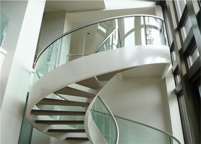 Painted Finish Antique Building Curved Stairs With White Walnut Wood Tread