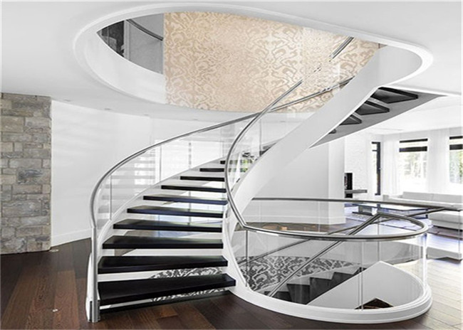 Cable Balustrade Building Curved Stairs , Interior Wood Stairs Building Project Design