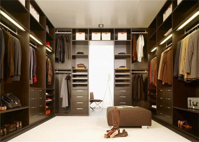 Knock Down Walk In Closet Wardrobe Dark Style With Kick Board , Flat Packing