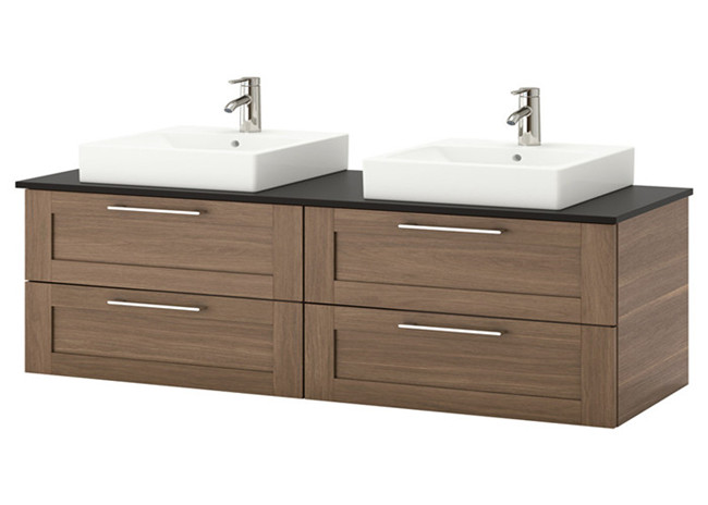 Modern Style Custom Bathroom Vanity Cabinets Lacquer Surface With Quartz Countertop