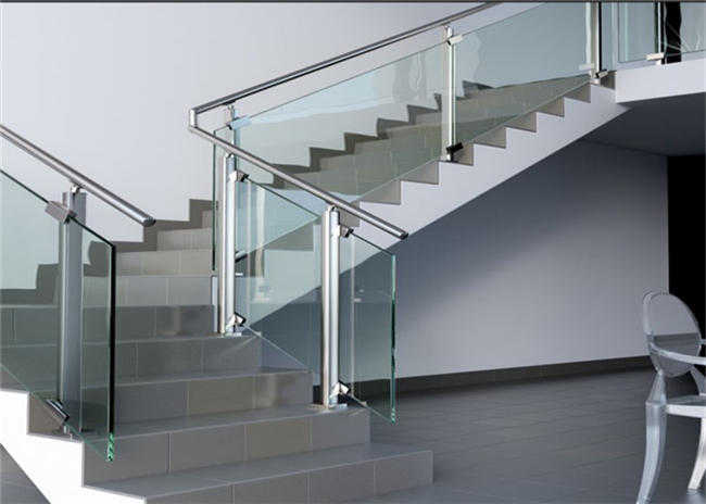 Modern Hotel Glass And Steel Staircase Railing With Clear / Brown / Grey Color