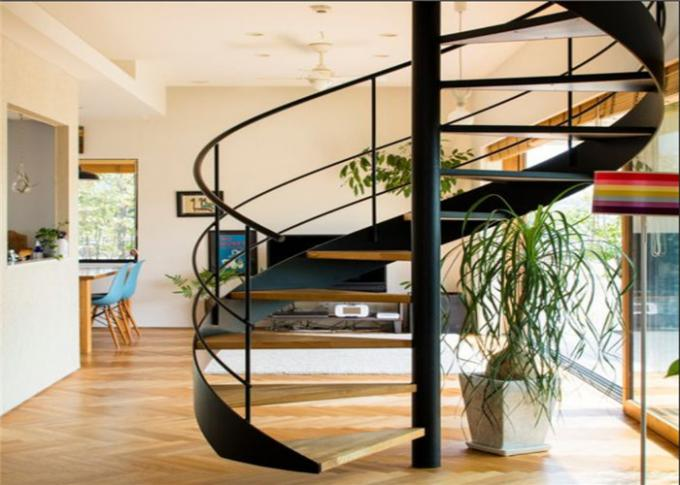 Residential Steel Stair Custom Spiral Staircase With Solid Wood Treads
