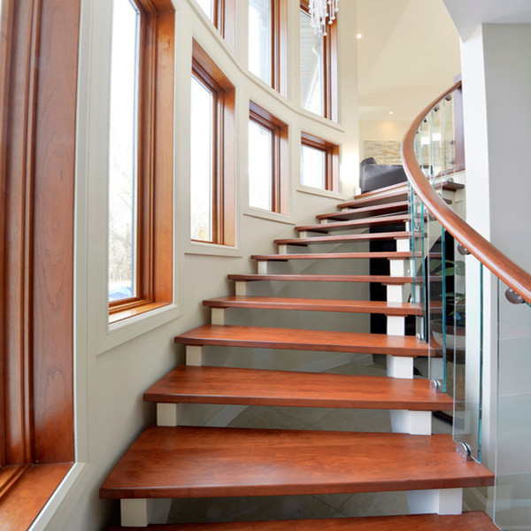 Wood Glass Tread Stainless Steel Curved Stair Circular Staircases