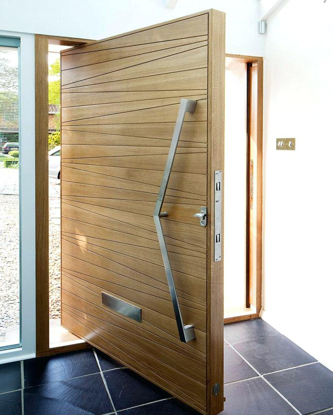 Modern Front Door Solid Wood Pivot Entry Door With Frosted