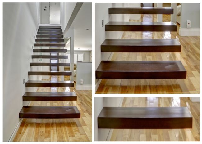 Wooden Steps Floating Steps Staircase Residential Indoor