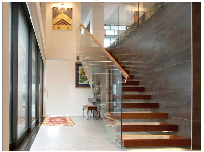 Steel Material Modern Floating Stairs With Tempered Laminated Glass Tread
