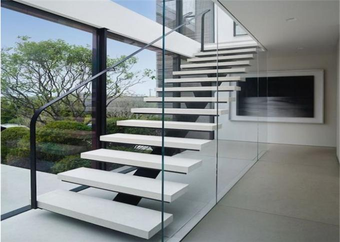 Modern Floating Straight Flight Staircase With Metal + Wood + Glass Material