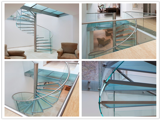 Modern Frameless Glass Spiral Staircase , Residential Decorative Spiral Staircase