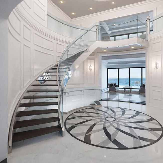 Interior Building Curved Stairs Wooden Staircase With 12mm Tempered Glass Balustrade