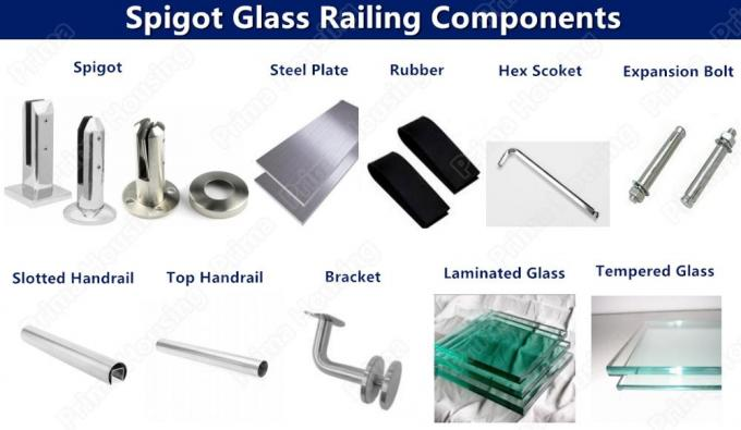Spigot Stainless Steel Tempered Glass Deck Railing Systems