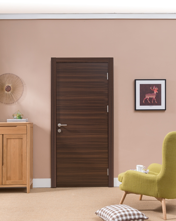 Veneered Walnut Solid Oak Internal Doors Slab Single Swing With V Grooves