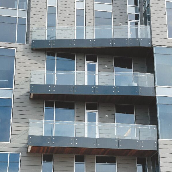 Tempered Glass Balcony Railing , Standoff Glass Railing Stainless Steel Material