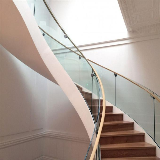 Double U Channel Stringer Modern Spiral Staircase , Curved