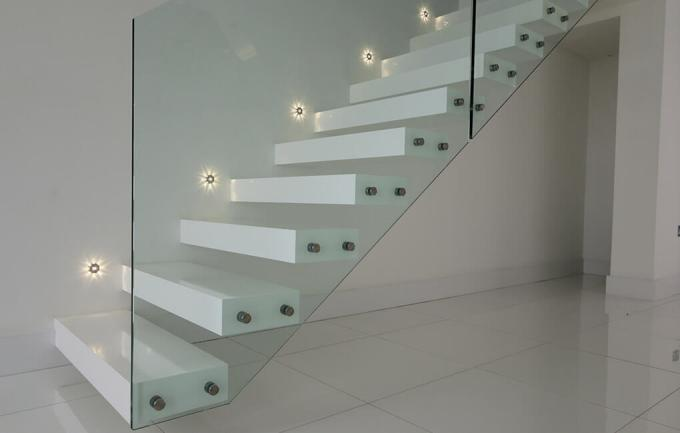 Glass Railing Straight Flight Staircase 50mm Thick Solid Oak Wood Floating Stairs For Villa