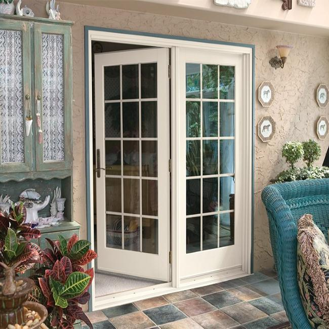 Double Leafs Israel Solid Wood Exterior Front Doors Tempered Glass For Villas Teak Color