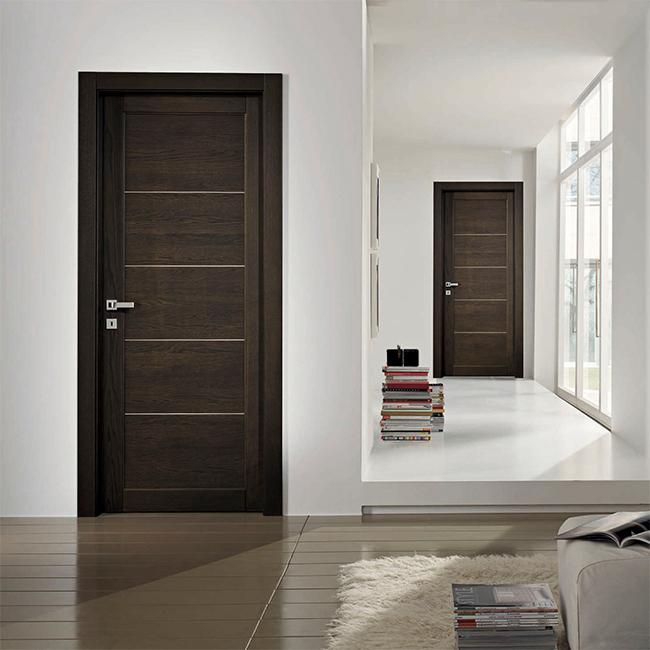 Double Main Oak Solid Wood Doors Red Color Painting Surface For Villa Entry