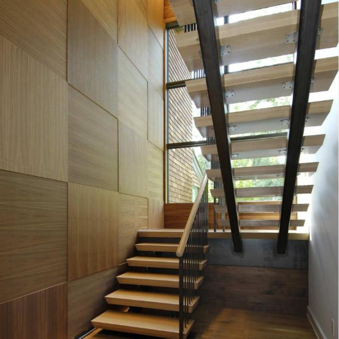 Cable Railing Steel Stringer Wood And Glass Staircase 3 Flights Straight DIY Installation