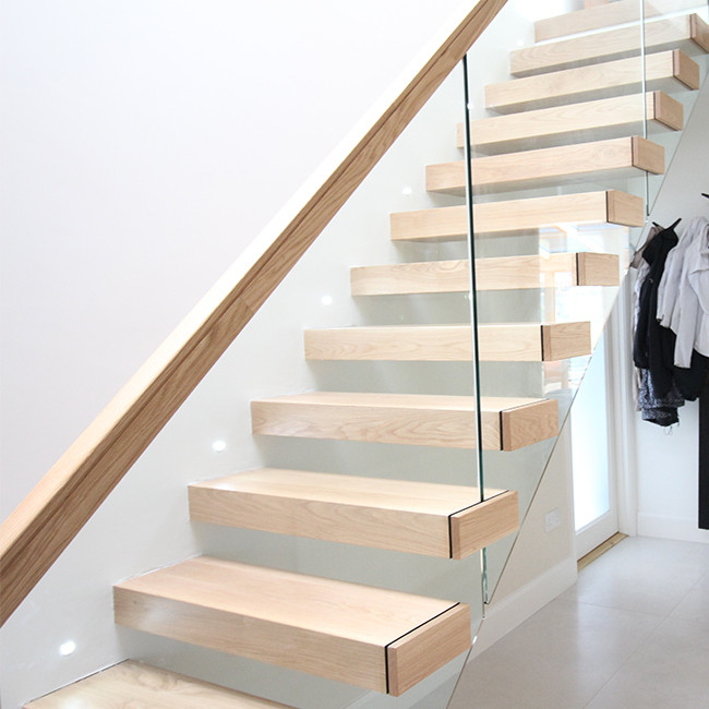 Wooden Tread Railing Building Floating Stairs , Floating