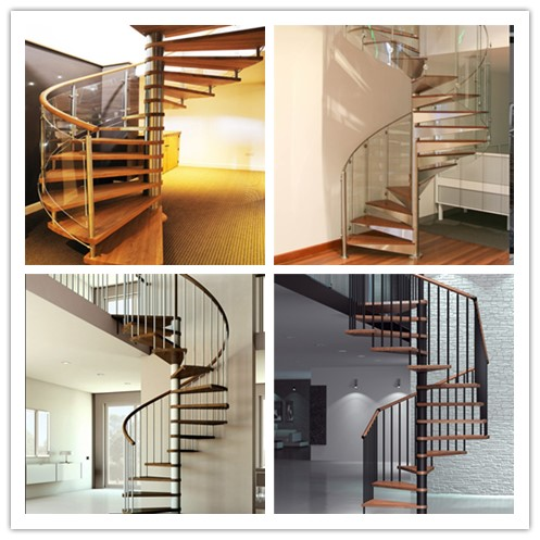 White Stainless Steel Spiral Staircase , Strong Spiral Stairs For Small Spaces