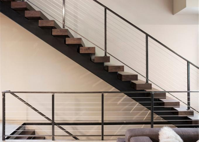 Prima Prefabricated Modern Straight Staircase Single Beam Tempered Glass Railing