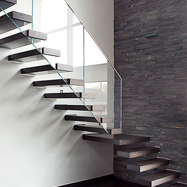 Movable Floating Steps Staircase Steel Folding Solid Wood Finish Home Application