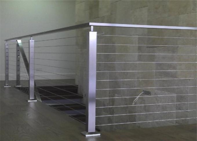 Solid Structure SS Wire Balustrade , Horizontal Cable Railing Systems 1000-1200mm Height