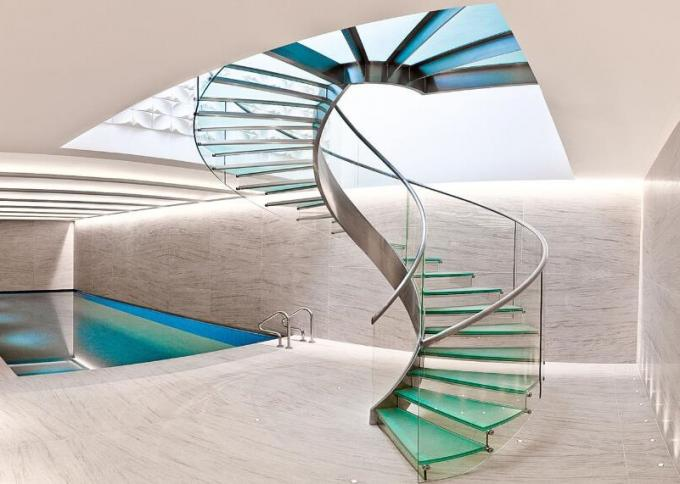 Tempered Glass Space Saving Spiral Staircase , Decorative Loft Spiral Staircase