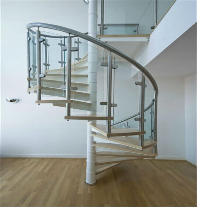 Steel Wood Residential Spiral Staircase , Custom Spiral Stairs For Small Spaces