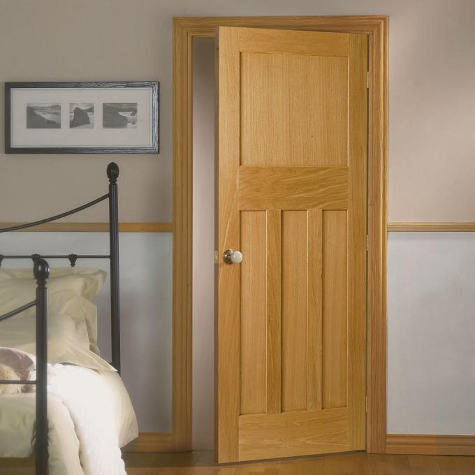House Model Open Inside Swing Solid Wood Doors Customized Color With Knobs / Locks