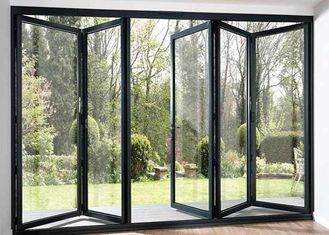 China Modern Aluminium Frame Accordion Sliding Glass Doors With Anodizing Surface Treatment supplier