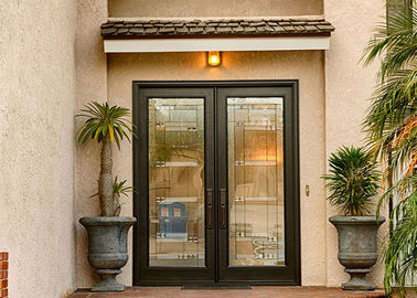 China Anti Deformation Exterior Wood Doors With Glass , Simple Main Door Designs For Home supplier