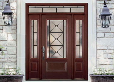 China Simple Single Solid Oak Front Doors With Glass , Main Wooden Door Designs For Home supplier