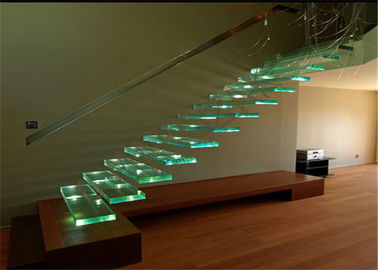 China Indoor Floating Steps Staircase Led Stairs With Wood Tread , Customize Size supplier