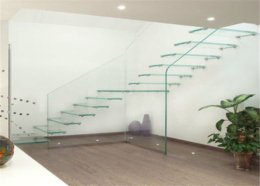 China Building Floating Steps Staircase Glass Balustrade Stairs Extremely Aesthetically Pleasing supplier