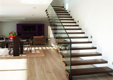 China Luxury Modern Style Floating Timber Stairs Humanized Design , No Support Underneath supplier
