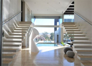 China Minimalist Modern Wooden Staircase Designs , Floating Stairs With Glass Railing supplier