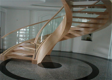 China Interior Building Curved Stairs Wooden Staircase With 12mm Tempered Glass Balustrade supplier