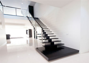 China Solid Wood Steps Straight Flight Staircase Humanized Design Free Sample , Diy Fitting supplier